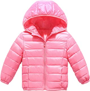 RUI-CHENG Kid Down Outwear Boys Girls Lightweight Puffer Hooded Quilted Puffer Coat 2-8 Y