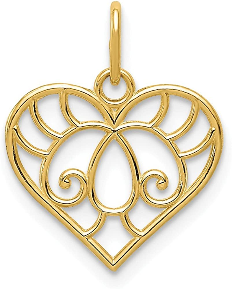 14k Yellow Gold Filigree Heart Pendant Charm Necklace Love Fine Jewelry For Women Gifts For Her