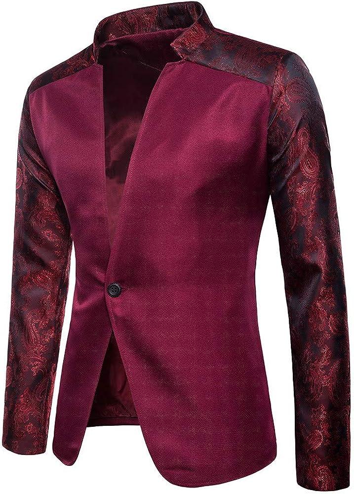 MODOQO Men's Slim Fit Sport Blazer Jacket Casual One Button Tuxedo for Weeding Party Dinner
