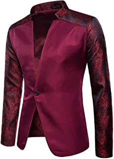 Realdo Mens Casual Blazer, Fashion Charm Mens Embroidery Button Slim Fit Suit Coat Jacket Top