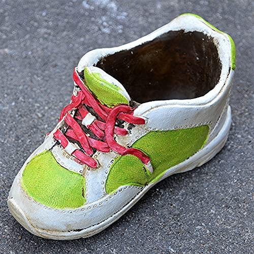 YANXUE Decoración Creativa de Maceta al Aire Libre- Suculents Zapatos en macetas Cemento Suculents Zapatos Florales Retro Personalidad Antigua Creativa PUL (Color : Green)