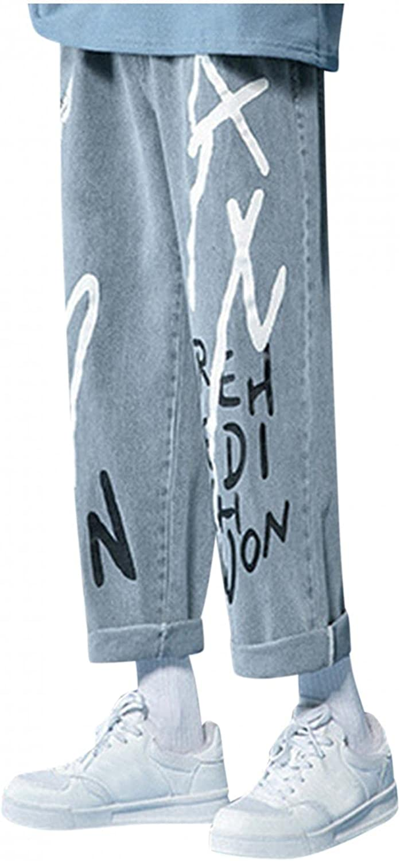 Men's Straight Leg Fashion Jeans Pants Stretch Plus-Size Loose Street Nine Pants Leeter Prints Wid-Leg Trousers