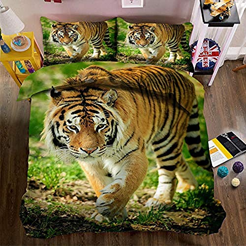 PANDAWDD Juego De Cama Tigre Animal 3D/200X200cm 100% De Poliéster,Juego De Fundas De Edredón Reversible,con Cremallera Comodidad Y Calidez(1 Funda Nórdica Y 2 Funda De Almohada