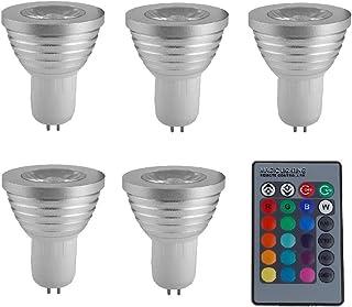 SGJFZD 5 PCS GU5.3 RGB LED Spotlight 3W LED Lamp 85-265V Lamp High Power 16 Colors Changeable Home Decoration Infrared LED...