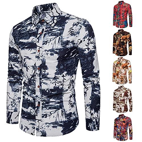 Camisa informal de manga larga para hombre, de lino, con cuello de solapa, multicolor, camisas tropicales hawaianas, camisa de manga larga con estampado, camiseta de ocio, multicolor, Braun A., XL