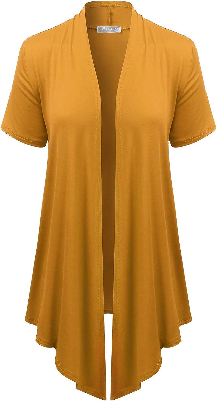 EIMIN Women's Basic Solid Short Sleeve Open Drape Front Jersey Cardigan (S-3XL)