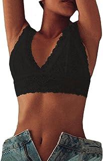 d58003f1a9 Easytoy Sexy Women s Lace Deep V Bralette Bra Bustier Crop Wireless Lingerie