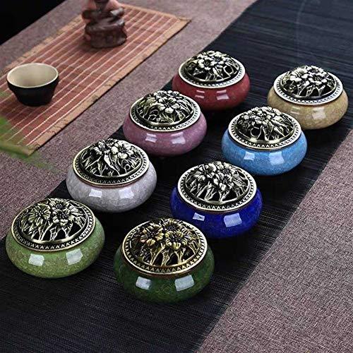 XueQing Pfanne Binglie Aromatherapie Ofen Keramik Räucherspule Typ für Haushalt Mückenschutz Räucherstäbchen Schlafzimmer Deo smaragdgrün