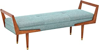 Ink+Ivy Boomerang Bedroom Bench - Solid Wood, Polyester Fabric, Button Tufted Design, Mid-Century Modern Style Seating Accent Ottoman, Blue/Pecan