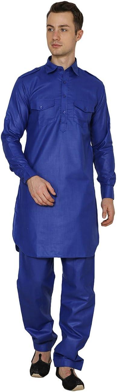 Royal Indian Traditional Festive Men's Linen Pathani Suit Blue