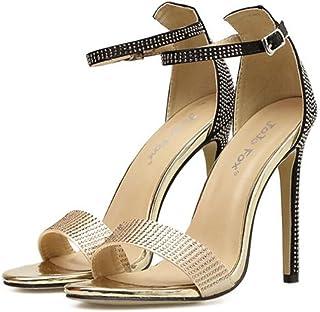 GLJJQMY Women's Open Toe Sandals PU Rhinestone Metal Buckle Charm Fashion Ankle Straps Pump Simple High Heels 35-40 Yards Women's Sandals (Color : Black, Size : 36)