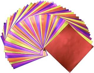 "GuCra Reddish Foil Paper 90 Sheets Pack, Origami Folding Paper Metallic Red Colors, 5.9""x5.9"" (15x15 cm) 5Colors"