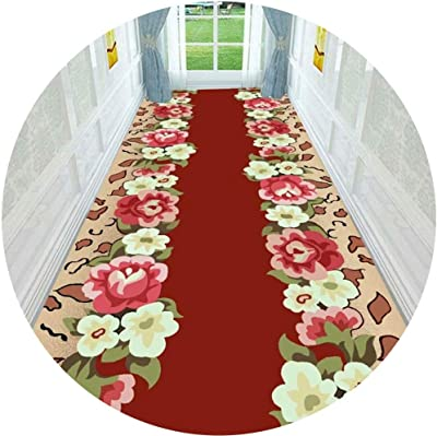 Hallway Runner Rug Long Runner Rugs Corridor Carpet Geometric Minimalistic Floral Pattern Polyester Material Ideal for Corridors and Balconies Cuttable Carpet (Color : A, Size : 1X3M)