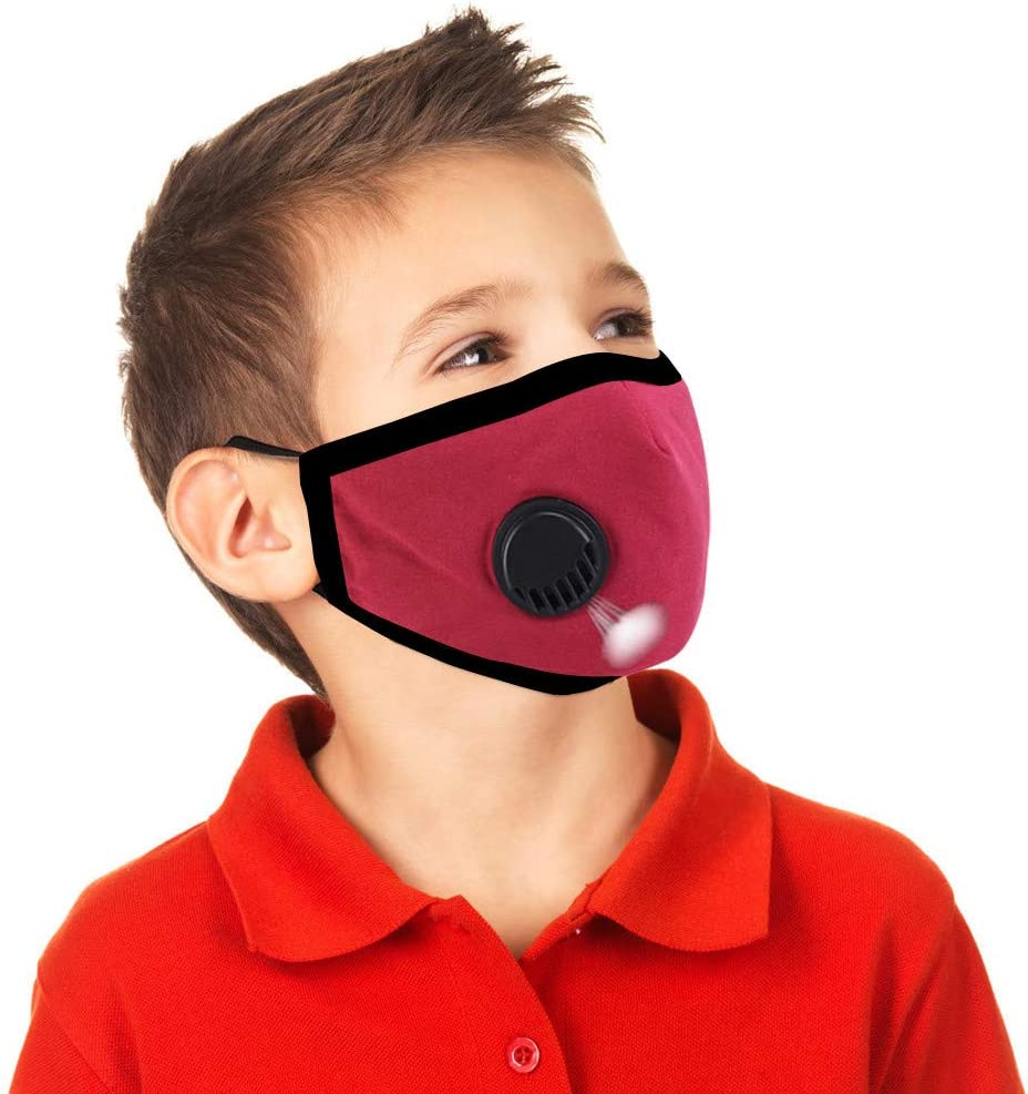 Reusable//Washable Ussuma 5PC Children Fashion Face Bandanas with 20 PCS Replacement Filters Pad with Breathing Valve for Kid 3-12 Years Old Protective Anti-Dust