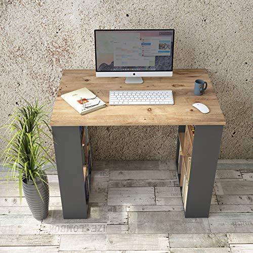 Yurupa Schreibtisch Computertisch Gaming Pc Tisch Arbeitstisch Bürotisch Eiche-Schwarz BR1-AA
