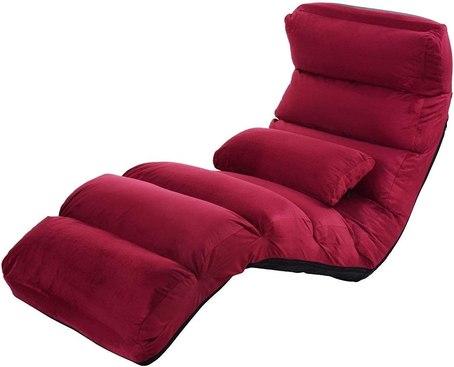 Giantex Folding Lazy Sofa Chair Stylish Sofa Couch Beds Lounge Chair W Pillow (Burgundy)