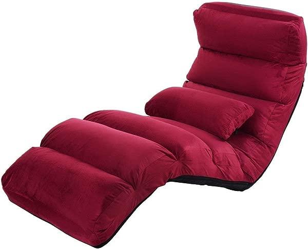 Giantex 折叠懒人沙发椅时尚沙发沙发床躺椅 W 枕头酒红色