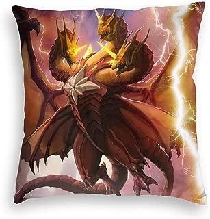 Super Warm Velvet Decorative Pillow Case Lightweight, Cool Monster King Ghidorah Anime Godzilla Fanart, Retro Zippered Cushion Covers for Autumn Playroom Chair 20x20 Inch