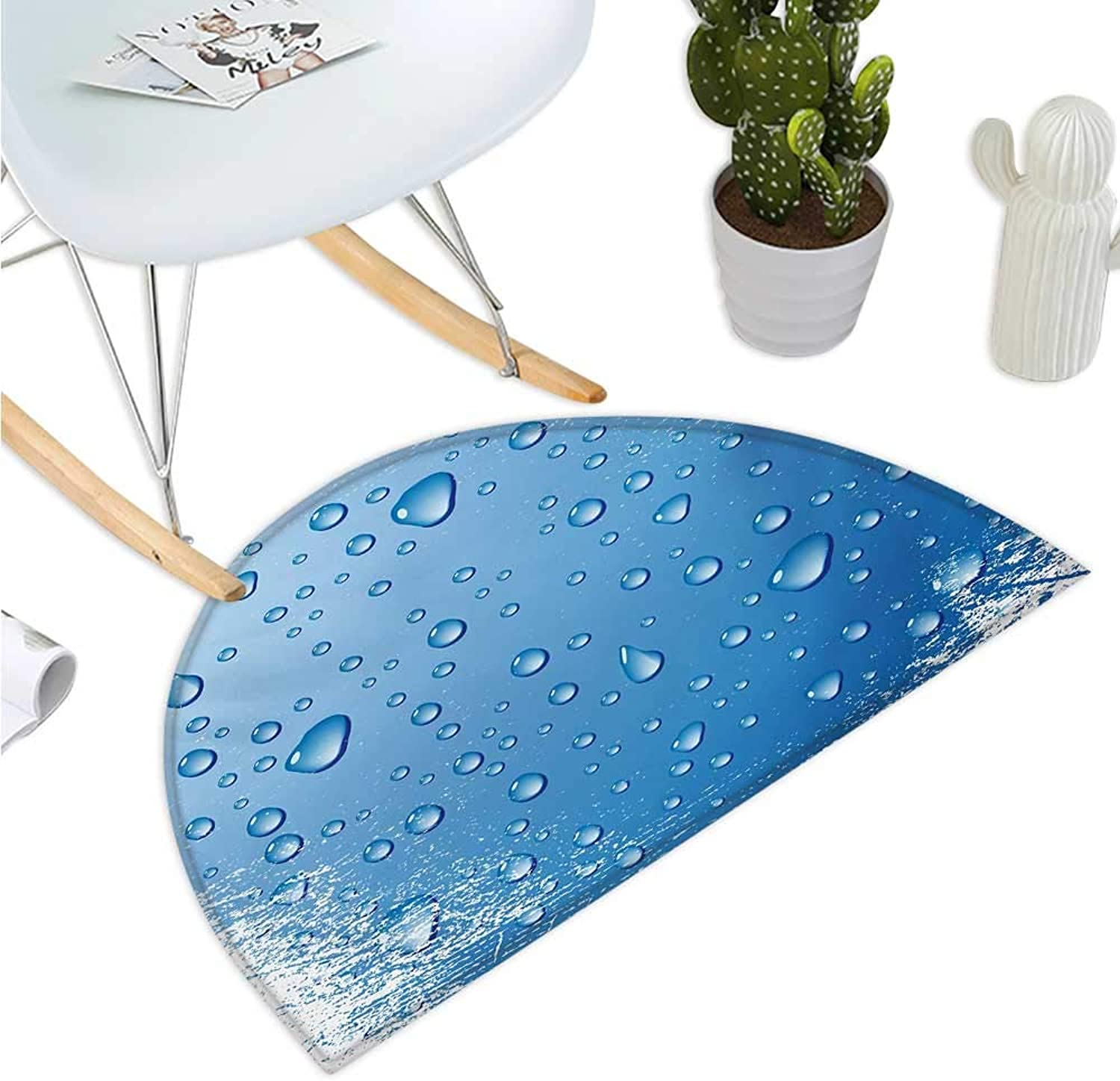 Grunge Semicircle Doormat Realistic Water Drops Bubbles on Worn Scratched Looking Backdrop Freshness Purity Halfmoon doormats H 35.4  xD 53.1  bluee White