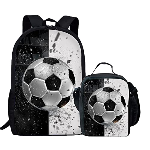 Coloranimal Cool 3D Soccer Ball Printed School Bag+Lunch Bag for Kids Child 81a1798a00c02