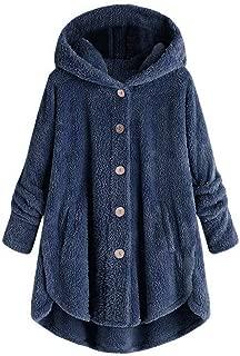 QIQIU Womens Plush Hooded Plus Size Buttons Cardigan Loose Wool Winter Warm Casual Coat Outwear