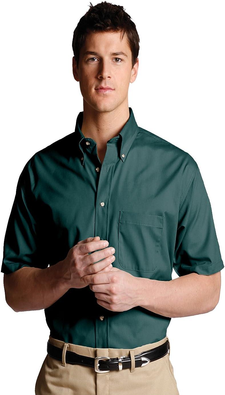 Edwards Garment Men's Big And Tall Button Down Short Sleeve Poplin Shirt_TEAL_4XLT