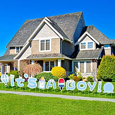 """JILLSKY Baby Shower Yard Sign with Stakes for Boy - 16.7"""" Big Size It's A Boy Yard Sign Outdoor Lawn Decorations, Newborn Baby Boy"""