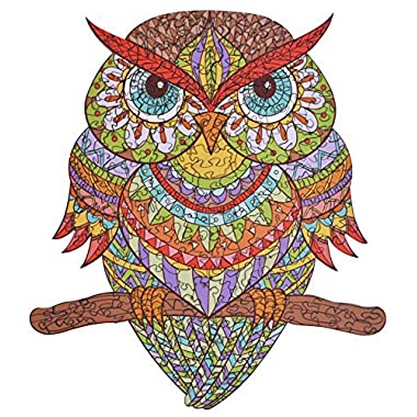 Wooden Jigsaw Puzzles - Colorful Owl Hartmaze HM-04 Small Bird Puzzle 206 Unique Shape Jigsaw Pieces-Beautiful Animal for Adults and Kids- Best for Family Game Play Collection.