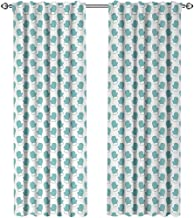 youpinnong Turquoise, Window Treatments Curtains Valance, New Years Christmas Theme Winter Snow Gloves with Furry Borders Image, Curtains for Sliding Glass Door, W108 x L96 Inch, White and Light Blue
