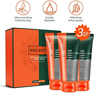 Modelones Soft Moisturizing Hand Cream - High-Intensity & Fast-Absorbing Hand Lotion for Very Dry Skin - 3.17 oz Tube (Pack of 3)
