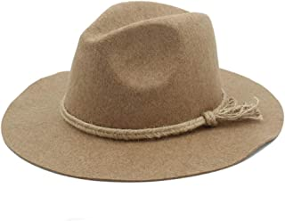 Fedora Cap Men Women Wool Fedora Hat Dance Party Hat Casual Wild Jazz Hat Adult Fascinator Church Hat Size 56-58CM Felt hat (Color : Khaki, Size : 56-58)