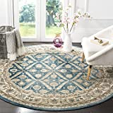 Safavieh Sofia Collection SOF378C Area Rug, 6'7' x 6'7' Round, Blue/Beige