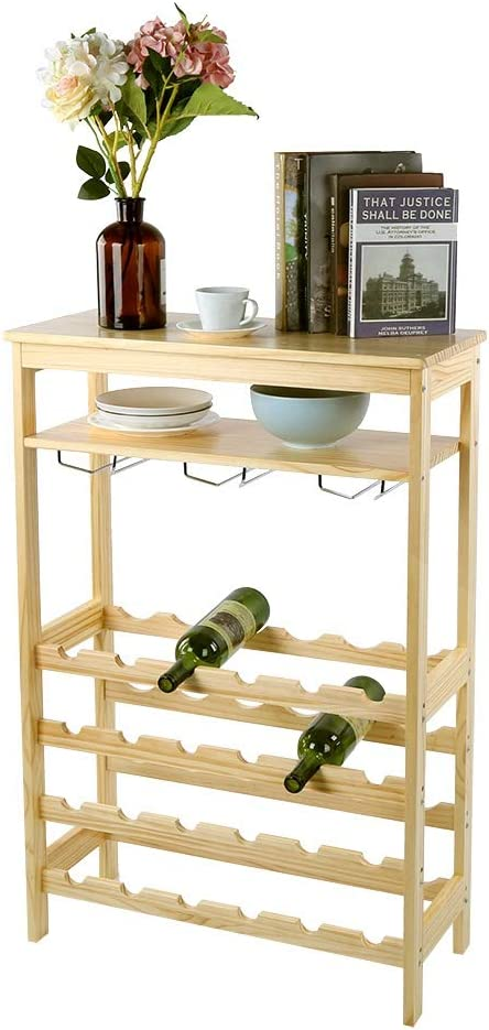 AYNEFY Award Wine Rack 6Layer Bamboo 24Bottle Standing Sales for sale Free