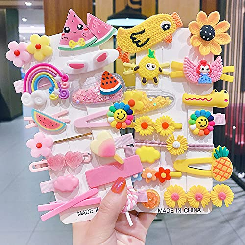 28 piezas de pinzas para el cabello para niñas, accesorios para el cabello, adorables horquillas con diseño de corazón y flores de arcoíris para niñas y adolescentes