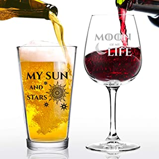Moon of My Life My Sun and Stars Wine and Beer Glass Set for GOT Fan Couples- 12.75 oz Wine Glass & 16 oz Beer Pint Glass- Present for Mom and Dad- Inspired by GOT- Husband Wife Gift