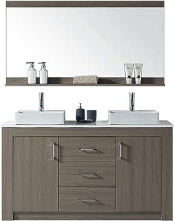 Virtu USA KD-90060-S-GO Tavian Bathroom Vanity, 60 inches, Gray Oak