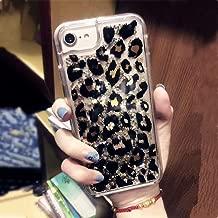 iPhone 7 Case, iPhone 8 Case,Ebetterr Leopard Sparkle Glitter Bling Liquid Case for Girls Women,Flowing Liquid Floating Soft TPU Bumper Hard Clear Case Phone Cover for Apple iPhone 7/ iPhone 8