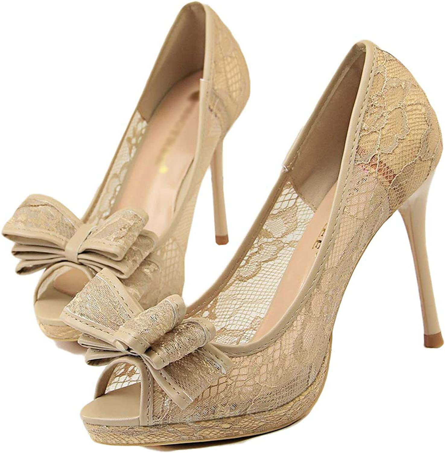 Drew Toby Women Pumps Sexy Cut-Outs Mesh Peep Toe Flower Lace Fashion Shallow High Heels