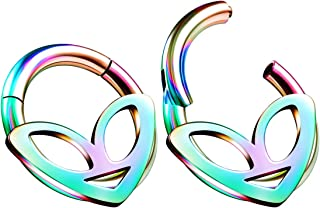 Pair of Anodized 316L Surgical Steel Alien Hinged Segment Nose Hoop Ring Piercing Cartilage Helix Septum Tragus Jewelry
