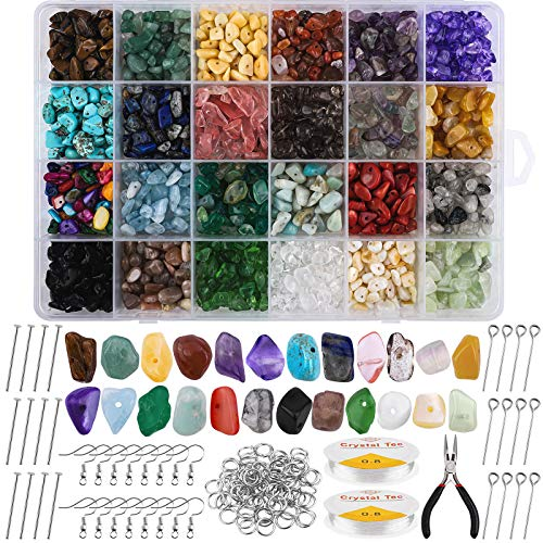 durony 24 Colors Irregular Chips Stone Beads for Healing Bracelets Necklace, Ear Hook Lobster Clasp Jewelry Making Gemstones Crystal Kit for Jewelry Necklace Bracelet Earring Making DIY Crafts