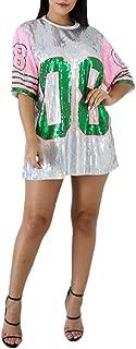 Sequins Short Sleeve 08 Print Casual Mini Dress