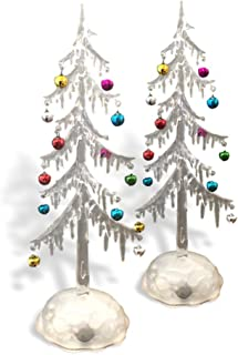 BANBERRY DESIGNS Light Up Acrylic Trees - Set of 2 LED Christmas Trees - Miniature Jingle Bell Ornaments Attached - Christmas Table-Top Display