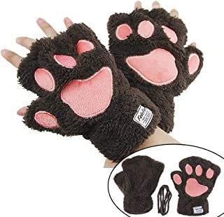 YLucky Cartoon Bear Cat Palm Claw Gloves Half Finger Dog Paw Gloves Winter Warm Plush Faux Fur Mittens Short Fingerless Hand Wear with Drawstring for Cosplay Costume Christmas Girl Women 1pair