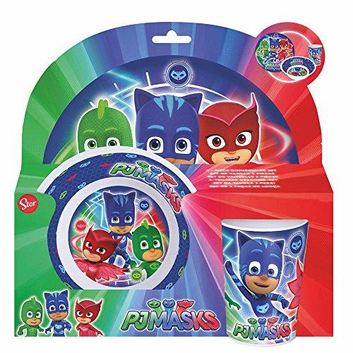 PJ Masks Juego de Desayuno 3 Partes | Melamina | Vajilla Infantil