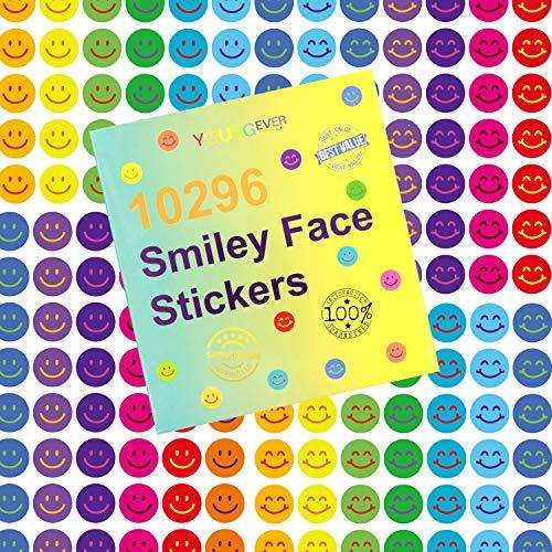 Youngever 10296 Stück Happy Smile Face Sticker, Smiley Face Sticker, 12 Farben, Incentive Sticker für Belohnung Verhaltensdiagramm 0,9 cm, Lehrerbedarf Klassenzimmer Supplies