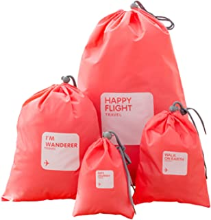 4 PCS 4 Sizes Waterproof Drawstring Packing Bags Organizers Pouch Set for Home Storage Outdoor Sport Travel Use Red