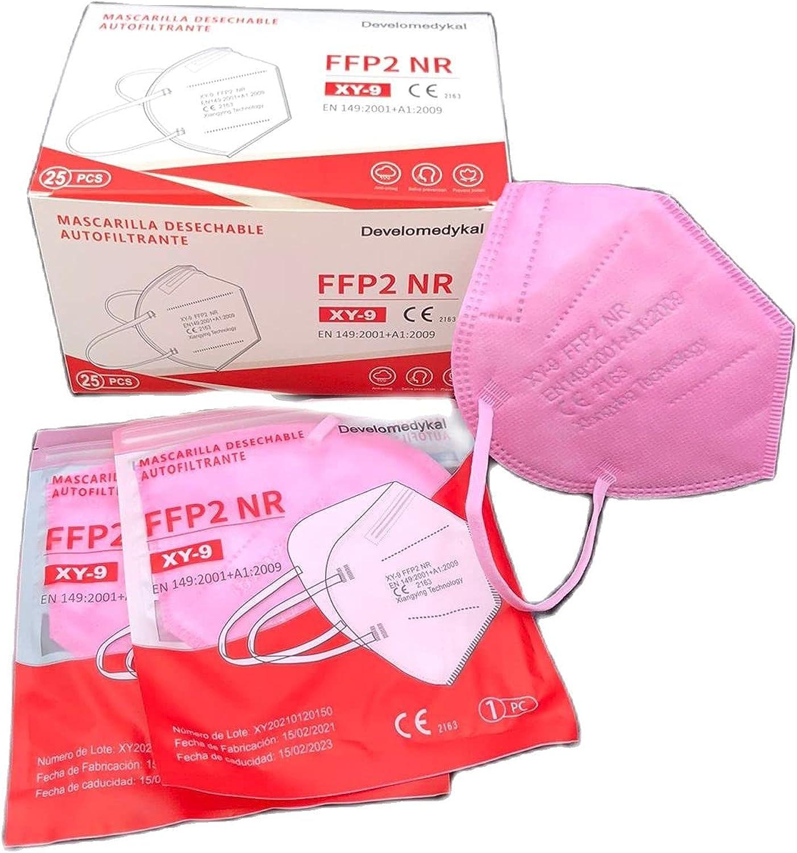DEVELOMEDYKAL 25 Mascarillas FFP2 Homologada CE, Mascarillas Blancas, Negras y Rosas Adulto, Protector Facial desechable