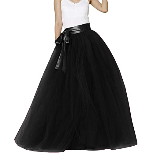 30d218eb8 Lisong Women Floor Length Bowknot 5-Layered Tulle Party Evening Tutu Skirt