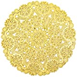 Round Medallion Paper Lace Doilies (Gold, 60 Pack)