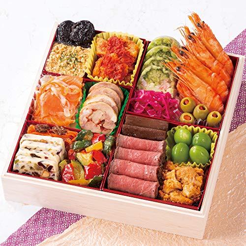 北海道 北のシェフ 洋風おせち料理 2021 一段重 特大8寸 16品 盛り付け済み 冷蔵おせち 3人前〜4人前 お届け日:12月31日